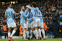 Manchester City's Phil Foden celebrates with team-mates  after scoring his sides sixth goal <br /> <br /> Photographer Rich Linley/CameraSport<br /> <br /> UEFA Champions League Round of 16 Second Leg - Manchester City v FC Schalke 04 - Tuesday 12th March 2019 - The Etihad - Manchester<br />  <br /> World Copyright &copy; 2018 CameraSport. All rights reserved. 43 Linden Ave. Countesthorpe. Leicester. England. LE8 5PG - Tel: +44 (0) 116 277 4147 - admin@camerasport.com - www.camerasport.com