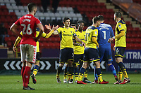 Oxford United players celebrate their 3-2 victory at the final whistle during Charlton Athletic vs Oxford United, Sky Bet EFL League 1 Football at The Valley on 3rd February 2018
