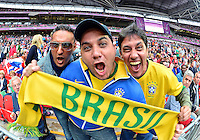August 07, 2012..Supporter of Brazil Soccer team during Semi Final match at the Wembley Stadium on day eleven in Wembley, England. Mexico defeat Japan 3-1 to reach Men's Finals of the 2012 London Olympics...