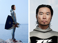Ryuzo Shinomiya, freediver, poses for the photographer at the A.I.D.A. Freediving World Championships, Villefranche-sur-Mer, France, 11 September 2012. Ryuzo, 35 years old, is Japanese and Asia's number one freediver. His personal best depth is 115m in constant weight discipline.  <br />