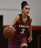 Trinity Hudson #3 of Glen Cove dribbles downcourt during a Nassau AA-3 girls basketball game against host Plainedge High School on Thursday, Dec. 20, 2018.