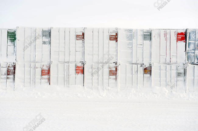 At the Kupol gold mine in Chukotka operated by the Canadian company Kinross, a snowy arctic landscape framed the containers used for storage and in which come the daily needs of the mine transported by truck on the winter road from the port of Pevek in the north of Chukotka. Russian Far East, February 7, 2011