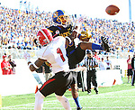 BROOKINGS, SD - OCTOBER 22:  Adam Anderson #80 from South Dakota State University is interfered with while trying to catch a pass in the end zone by Eric Thompson #1 from Youngstown State in the first half of their game Saturday afternoon at Dana J. Dykhouse Stadium in Brookings. (Photo by Dave Eggen/Inertia)