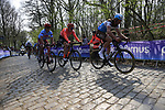 Stijn Vandenbergh (BEL) AG2R La Mondiale, Gijs Van Hoecke (BEL) CCC Team and Viacheslav Kuznetsov (RUS) Katusha Alpecin on the the first ascent of the Kemmelberg during the 2019 Gent-Wevelgem in Flanders Fields running 252km from Deinze to Wevelgem, Belgium. 31st March 2019.<br /> Picture: Eoin Clarke | Cyclefile<br /> <br /> All photos usage must carry mandatory copyright credit (© Cyclefile | Eoin Clarke)