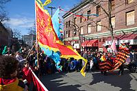 Chinese Flags, Lunar New Year, Chinatown, Seattle, WA, USA.