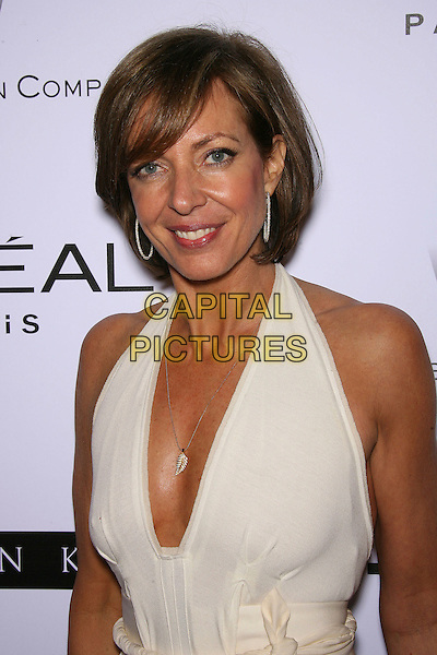 ALLISON JANNEY.The Weinstein Company's 2007 Golden Globes After Party held at Trader Vic's at the Beverly Hilton Hotel, Beverly Hills, California, USA, 15 January 2006..half length white cream halterneck dress alison.CAP/ADM/ZL.©Zach Lipp/AdMedia/Capital Pictures.