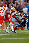 13 November 2005: Kansas City Chiefs quarterback Trent Green (10) is sacked by linebacker Angelo Crowell (55) of the Buffalo Bills at Ralph Wilson Stadium in Orchard Park, NY. The Bills defeated the Chiefs 14-3. ..Mandatory Photo Credit: Ed Wolfstein
