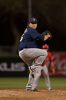 Milwaukee Brewers relief pitcher Mike Zagurski (56) during a Minor League Spring Training game against the Los Angeles Angels at Tempe Diablo Stadium on March 29, 2018 in Tempe, Arizona. (Zachary Lucy/Four Seam Images)