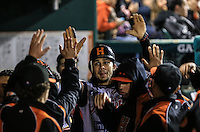 Jerry Owens celebra segunda carrera de Naranjeros, durante el tercer juego de la Serie entre Tomateros de Culiacán vs Naranjeros de Hermosillo en el Estadio Sonora. Segunda vuelta de la Liga Mexicana del Pacifico (LMP) **26Dici2015.<br /> **CreditoFoto:LuisGutierrez<br /> **<br /> Shares during the third game of the series between Culiacan Tomateros vs Orange sellers of Hermosillo in Sonora Stadium. Second round of the Mexican Pacific League (PML)