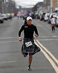 The winner of the world record-setting 2014 Jersey Shore Kilt Run 2-mile race at the Manasquan beachfront on Sat., March, 22, 2014.