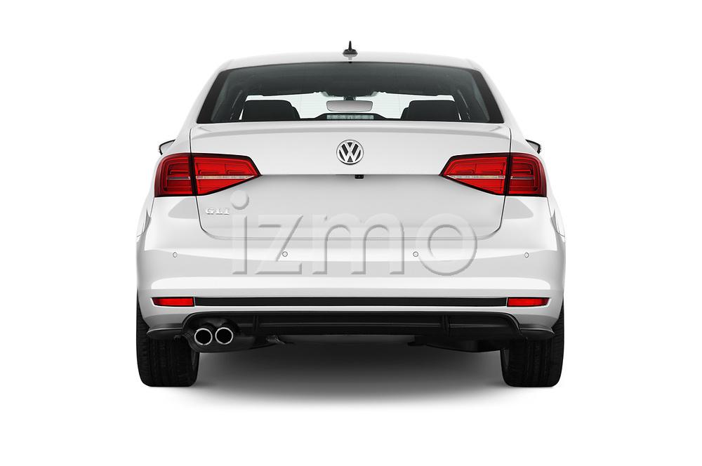 Straight rear view of 2017 Volkswagen Jetta GLI 4 Door Sedan Rear View  stock images