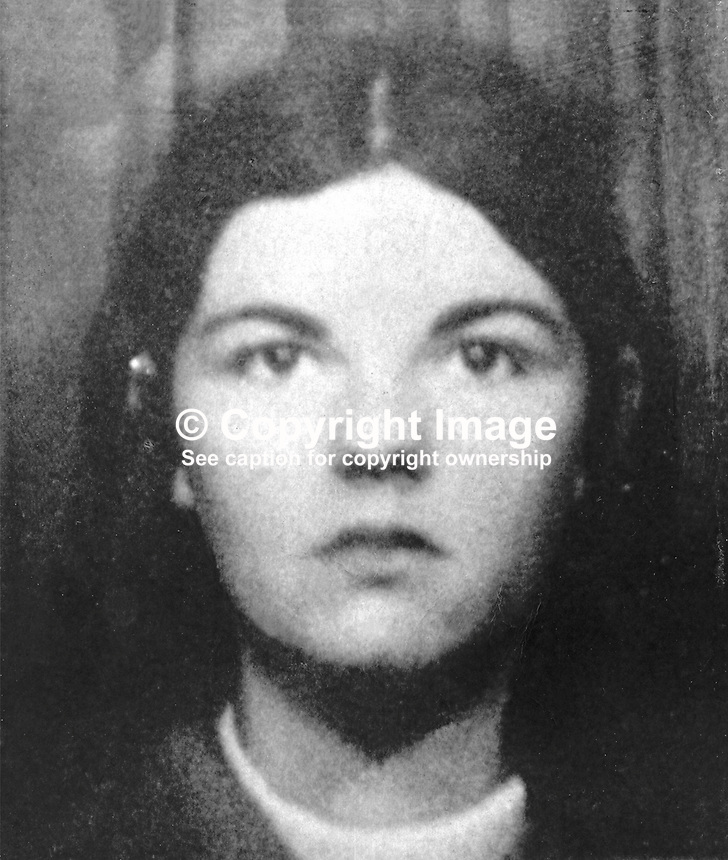 Margaret McCorry, 20 years, clerk, Fairfield Street, Ardoyne, Belfast, N Ireland, who was shot dead whilst waiting at a bus stop on the Crumlin Road. It happened during a gun attack on a British Army vehicle patrol. 197112200535<br />