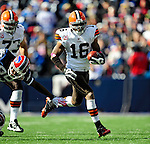 11 October 2009: Cleveland Browns' wide receiver Josh Cribbs makes a 31-yard gain in the second quarter against the Buffalo Bills at Ralph Wilson Stadium in Orchard Park, New York. The Browns defeated the Bills 6-3 for Cleveland's first win of the season...Mandatory Photo Credit: Ed Wolfstein Photo