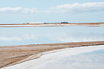 Salt farming at Shark bay salt, a solar salt farm, in Western Australia.