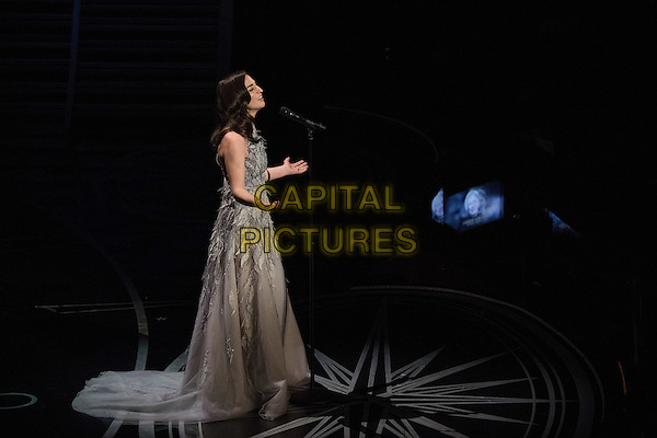 Sara Bareilles performs &quot;Both Sides Now&quot; during the In Memoriam package during the live ABC Telecast of The 89th Oscars&reg; at the Dolby&reg; Theatre in Hollywood, CA on Sunday, February 26, 2017.<br /> *Editorial Use Only*<br /> CAP/PLF/AMPAS<br /> Supplied by Capital Pictures