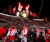 OhioState Buckeye celebrate their win over the Indiana Hoosiers at Ohio State Stadium in Columbus  Nov. 23, 2013.