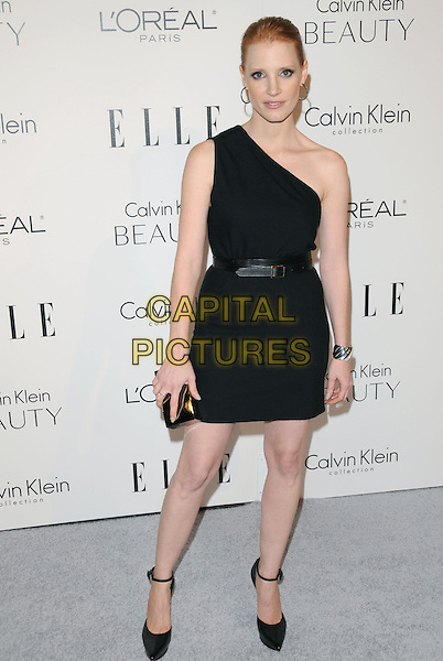 GUEST .walks the carpet as Elle Honors Hollywood's Most Esteemed Women in the 17th Annual Women in Hollywood Tribute held at The Four Seasons Beverly Hills in Beverly Hills, California, USA, October 18th 2010..full length black dress one shoulder belt  ankle strap shoes sandals platform gold clutch bag .CAP/RKE/DVS.©DVS/RockinExposures/Capital Pictures.