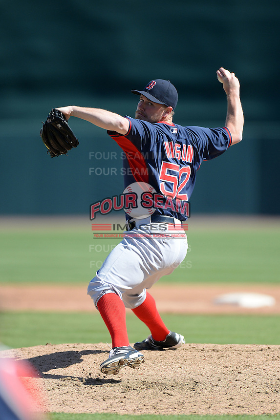 Boston Red Sox pitcher Alex Wilson (52) during a spring training game against the Baltimore Orioles on March 8, 2014 at Ed Smith Stadium in Sarasota, Florida.  Baltimore defeated Boston 7-3.  (Mike Janes/Four Seam Images)