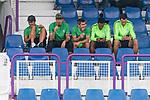 16.07.2017, Stadion an der Bremer Bruecke, Osnabrueck, GER, FSP VfL Osnabrueck vs SV Werder Bremen<br /> <br /> im Bild<br /> Thomas Delaney (Werder Bremen #6), Max Kruse (Werder Bremen #10) mit Eis, Fin Bartels (Werder Bremen #22) mit Eis, Theodor Gebre Selassie (Werder Bremen #23) und Jiri Pavlenka (Werder Bremen #1) mit Handy vor dem Spiel auf Trib&uuml;ne<br /> <br /> Foto &copy; nordphoto / Ewert