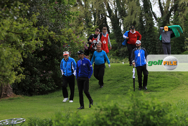 Michael Smurfitt and Gregory Bourdy (FRA) walk off the 17th tee during Wednesday's Pro-Am round of the Dubai Duty Free Irish Open presented  by the Rory Foundation at The K Club, Straffan, Co. Kildare<br /> Picture: Golffile   Thos Caffrey<br /> <br /> All photo usage must carry mandatory copyright credit <br /> (&copy; Golffile   Thos Caffrey)
