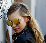 Stella Maxwell after the Fendi fashion shows as part of the Milan's Fashion Week Women's wear Spring/Summer 2016, in Milan on September 24, 2015.