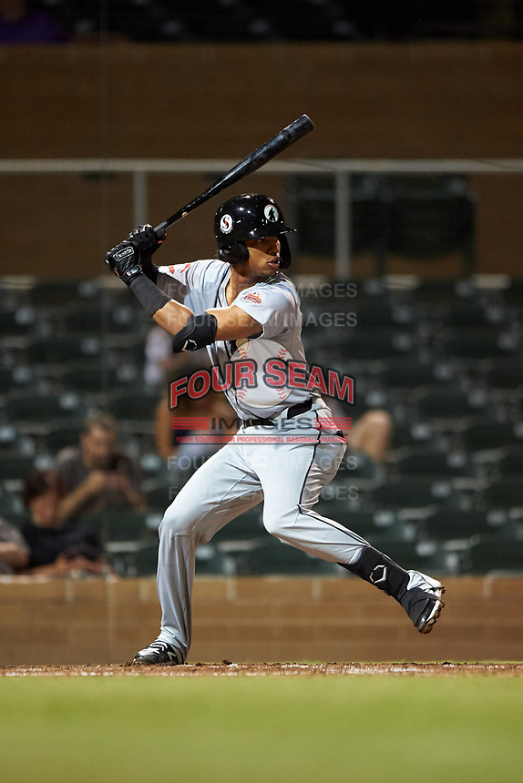 Glendale Desert Dogs Jose Garcia (6), of the Cincinnati Reds organization, at bat during an Arizona Fall League game against the Scottsdale Scorpions on September 20, 2019 at Salt River Fields at Talking Stick in Scottsdale, Arizona. Scottsdale defeated Glendale 3-2. (Zachary Lucy/Four Seam Images)