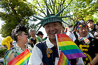 Fancy dress costumes at Tokyo Rainbow Pride festival, Yoyogi Park, Tokyo, Japan. Sunday April 27th 2014 This was the third year this annual gay-pride event has been held in Japan capital.with food, fashion and health care stalls and musical performances set up in Yoyogi Park event square and a colourful parade around Shibuya at 1pm.