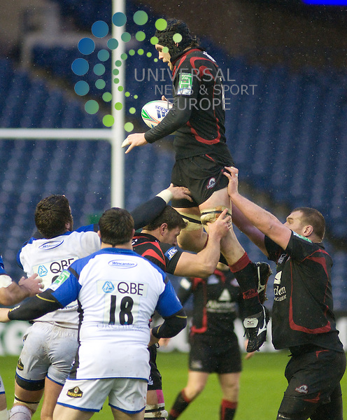 Edinburgh's Andy Beattie takes a line out during the Heineken Cup Pool 4 match, pictures by Colin Lunn / Universalnewsandsport (Scotland)19/12/09