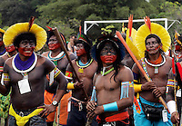 Natives of several tribes take part in an ceremony to bring attention to saving the Amazon forest (S.O.S Amazon) in Belem, in Para, in the heart of the Brazilian Amazon, on January 27, 2009, on the first day of the World Social Forum, an international gathering meant to be a counterweight to the World Economic Forum in Davos, Switzerland.