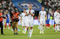 2 goal scorer Harry Kane (Tottenham Hotspur) of England applauds the travelling support during the International Friendly match between France and England at Stade de France, Paris, France on 13 June 2017. Photo by David Horn/PRiME Media Images.