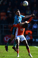 Fleetwood Town's Lewis Coyle vies for possession with Blackpool's Viv Solomon-Otabor<br /> <br /> Photographer Richard Martin-Roberts/CameraSport<br /> <br /> The EFL Sky Bet League One - Blackpool v Fleetwood Town - Saturday 14th April 2018 - Bloomfield Road - Blackpool<br /> <br /> World Copyright &not;&copy; 2018 CameraSport. All rights reserved. 43 Linden Ave. Countesthorpe. Leicester. England. LE8 5PG - Tel: +44 (0) 116 277 4147 - admin@camerasport.com - www.camerasport.com