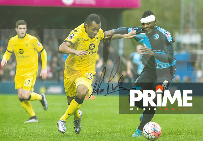 Aaron Pierre of Wycombe Wanderers Signed Photos at Adams Park, High Wycombe, England on 29 April 2016. Photo by Andy Rowland.