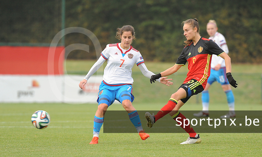 20161023 - TUBIZE , BELGIUM : Belgian Tessa Wullaert (R) and Russian Anastasia Konyukhova (L) pictured during a friendly game between the women teams of the Belgian Red Flames and Russia at complex Euro 2000 in Tubize , Sunday 23 October 2016 ,  PHOTO Dirk Vuylsteke | Sportpix.Be