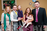 Baby Eabha Wren with her parents Padraig & Denise Wren, Ballylongford, sister Emma & god parents Sarah Kelly & David O'Connell who was christened in Ballylongford church by Fr. Sean Hannifan on Saturday last and afterwards at the Listowel Arms Hotel.