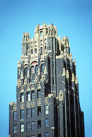 New York:  American Radiator Building. Raymond Hood, 1924. Gothic & Art Deco style. Renamed American Standard Building. Landmark skyscraper. National Register of Historic Places. Photo '91.