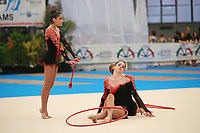 USA Senior Group begins routine with hoops + clubs at 2007 Genoa World Cup of Rhythmic Gymnastics Groups on June 9, 2007 at Genoa, Italy.  (Photo by Tom Theobald)