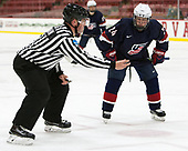 Stephen Drain, Sean Dhooghe (NTDP - 24) - The Harvard University Crimson defeated the US National Team Development Program's Under-18 team 5-2 on Saturday, October 8, 2016, at the Bright-Landry Hockey Center in Boston, Massachusetts.