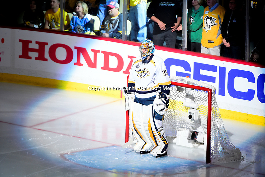 May 31, 2017: Nashville Predators goalie Pekka Rinne (35) waits for the signing of the national anthem at game two of the National Hockey League Stanley Cup Finals between the Nashville Predators  and the Pittsburgh Penguins, held at PPG Paints Arena, in Pittsburgh, PA. The Penguins defeat the Predators 4-1 and lead the series 2-0. Eric Canha/CSM