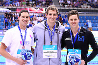 PICTURE BY VAUGHN RIDLEY/SWPIX.COM - Swimming - British Swimming Championships 2012 (Olympic Selection Trials) - Aquatics Centre, Olympic Park, London, England - 09/03/12 - Women's 800m Freestyle Final - (L-R) - Bronze - Simon Burnett, Gold - Adam Brown, Silver - Craig Gibbons.