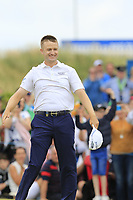Russell Knox (SCO) sinks his monster putt to win the tournament on the playoff 18th green during Sunday's Final Round of the 2018 Dubai Duty Free Irish Open, held at Ballyliffin Golf Club, Ireland. 8th July 2018.<br /> Picture: Eoin Clarke | Golffile<br /> <br /> <br /> All photos usage must carry mandatory copyright credit (&copy; Golffile | Eoin Clarke)