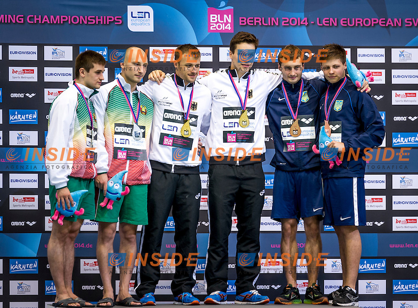 Podium<br /> Silver Medal - BLR Belarus<br /> KAPTUR Vadim<br /> KARALIOU Yauheni<br /> Gold Medal - GER Germany<br /> HAUSDING Patrick<br /> KLEIN Sascha GER<br /> Bonze Medal<br /> UKR Ukraine<br /> BONDAR Oleksandr<br /> DOLGOV Maksym<br /> Diving 10 m Platform Men Final<br /> 32nd LEN European Championships <br /> Berlin, Germany 2014  Aug.13 th - Aug. 24 th<br /> Day08 - Aug. 20<br /> Photo P. Mesiano/Deepbluemedia/Inside