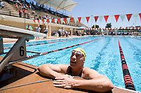 STANFORD, CA - AUGUST 4:  Nate Leech competes in the 200 yard freestyle and 100 backstroke in the 2009 Senior Games at Stanford University. TUESDAY, AUGUST 4, 2009. PHOTO BY DON FERIA.