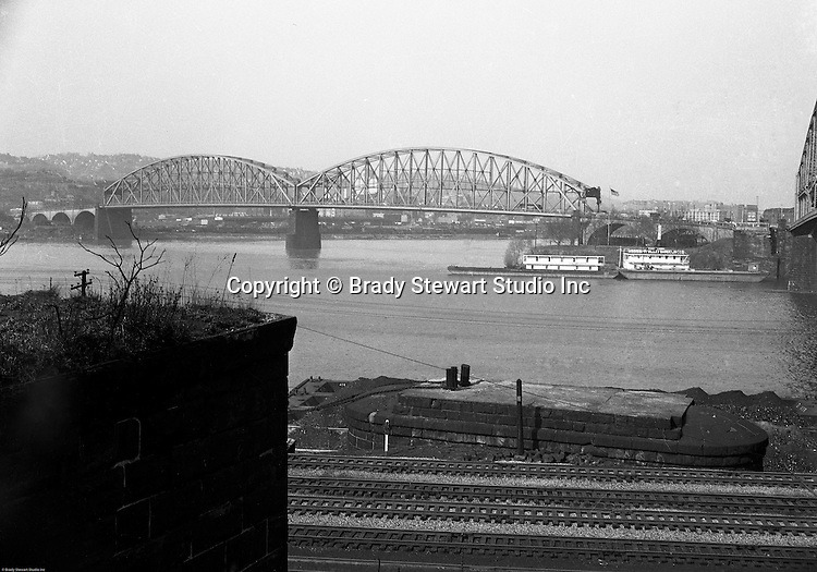 Pittsburgh PA:  View of the Manchester Bridge and North Side from the South Side.