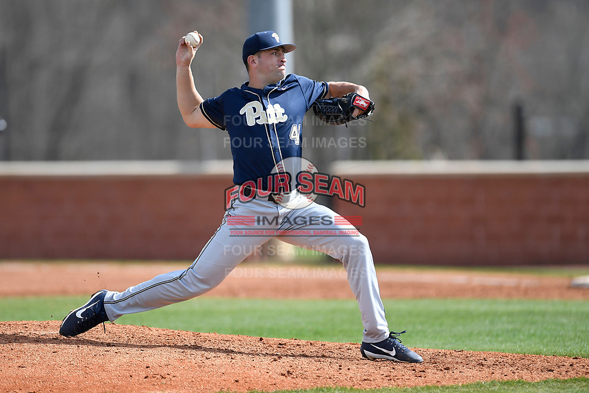 Pitcher Matt Pidich (41) of the Pittsburgh Panthers delivers a pitch in a game against the University of South Carolina Upstate Spartans on Saturday, February 24, 2018, at Cleveland S. Harley Park in Spartanburg, South Carolina. Pittsburgh won, 3-1. (Tom Priddy/Four Seam Images)