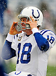 3 January 2010: Indianapolis Colts' quarterback Peyton Manning warms up prior to facing the Buffalo Bills on a cold, snowy, final game of the season at Ralph Wilson Stadium in Orchard Park, New York. The Bills defeated the Colts 30-7. Mandatory Credit: Ed Wolfstein Photo