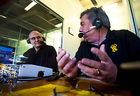 Newstalk ZB commentators Jason Pine (left) and Ross Bond during the Super Rugby Aotearoa match between the Hurricanes and Highlanders at Sky Stadium in Wellington, New Zealand on Sunday, 12 July 2020. Photo: Dave Lintott / lintottphoto.co.nz