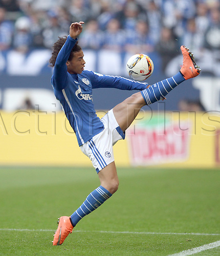 10.04.2016. Gelsenkirchen, Germany. Schalke's Leroy Sane in action during the German Bundesliga soccer match between FC Schalke 04 and Borussia Dortmund at the Veltins Arena in Gelsenkirchen, Germany, 10 April 2016.