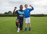 Current Internet sensation Taylor Hunt meets Aaron Pierre of Wycombe for the first time since Saturdays last minute celebration again Dagenham during Ballboy Taylor Hunt's visit to Wycombe Wanderers Training Ground, High Wycombe, England on 25 August 2015. Photo by Andy Rowland.