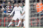 Real Madrid's Cristiano Ronaldo (l) and Daniel Carvajal celebrate goal during La Liga match. April 2,2016. (ALTERPHOTOS/Acero)