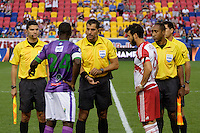 Harrison, NJ - Wednesday Aug. 03, 2016: Jairo Morales Garcia, Walter Enrique Quesada Cordero, Carlos Fernandez Castro, Javier Santos, Roberto Pena, Felipe Martins during a CONCACAF Champions League match between the New York Red Bulls and Antigua at Red Bull Arena.